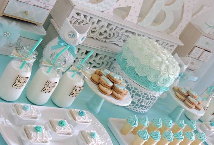Baby shower thème mixte turquoise